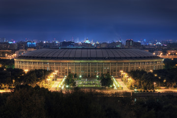 Spoed Fotobehang Stadion Stadium Luzniki at night in Moscow