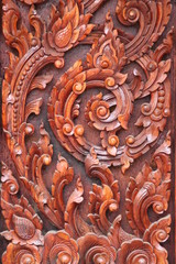 art carving on door of Wat Nong Bon, Kosumphisai, Mahasarakam