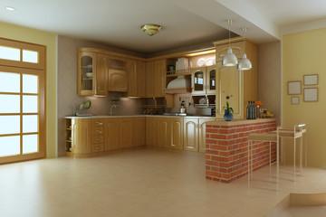 3d render classic luxury kitchen