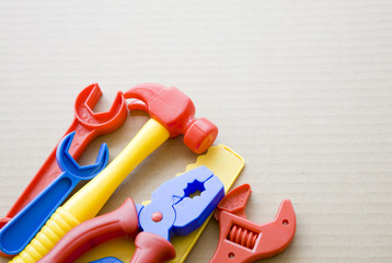 Set of plastic toy tools for children