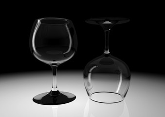 Two Water Glasses on Black