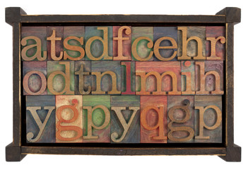 alphabet in rusti wooden box