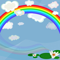 Poster Regenboog Bright spring background with a rainbow