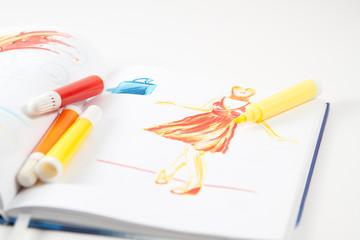 Filzstift auf Zeichnung
