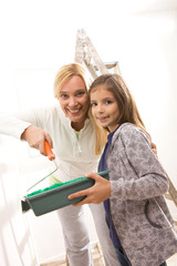 Mother and daughter renovating home