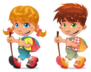 Trekking boy and girl. Vector and cartoon isolated characters.