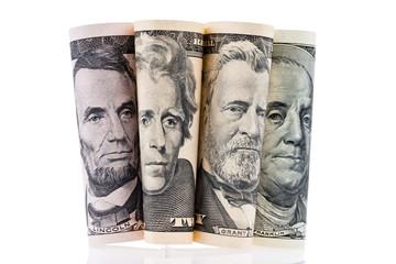 Dollar Geldscheine. Portraits.