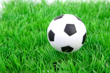 White soccer ball on grass