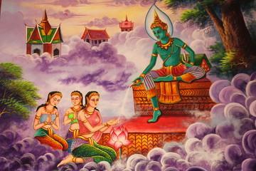 buddhist art painting, Wat Nong Khee, Wapipatum, Mahasarakam