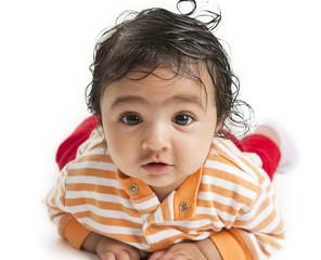 Portrait of a Newborn Baby Girl on White Background
