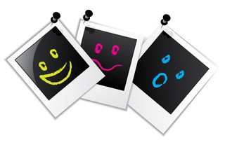 Photo frame set with smileys