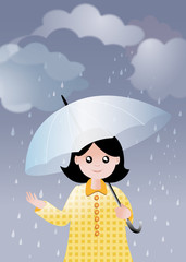 Fillette sous la pluie