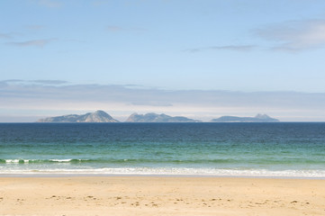 Panaramic view of the Cies Islands off Vigo Galicia Spain