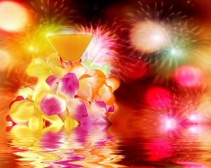 Hawaiian lei,cocktail and Fireworks