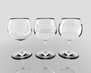 Three Glasses with Water