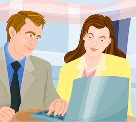 Man and woman in office - briefing