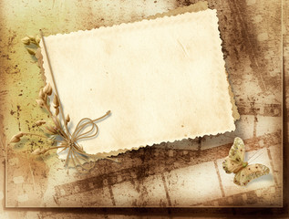 Vintage background with film strip and frame