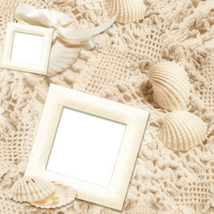 Elegant vintage background with frames and shells