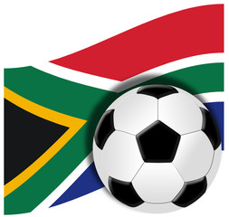Soccer ball with flag of republic of south africa