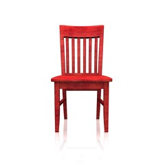 Der rote Holzstuhl  - isoliert