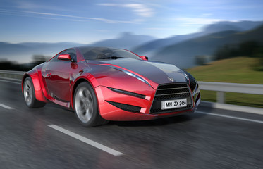 Red sports car moving on the road