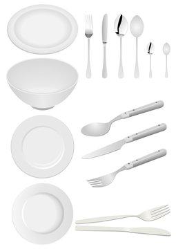 Illustration of kitchen ware isolated on white