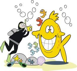 Underwater photography cartoon