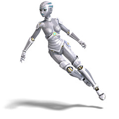female sexy metallic robot. 3D rendering with clipping path and
