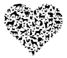 Herz mit Tieren
