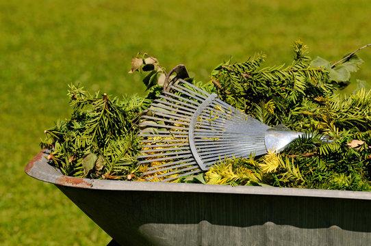 Schubkarre mit Gartenabfall