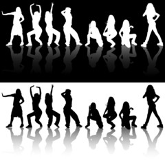 Dancing Girls Silhouettes - illustrations with real reflections
