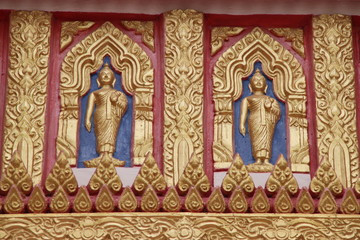 buddha image, art on gable, Wat Aphisit, Mahasarakam
