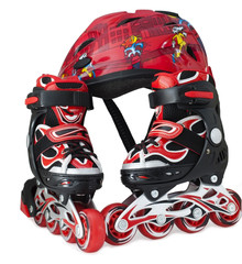 Red-black roller-scates and helmet for children
