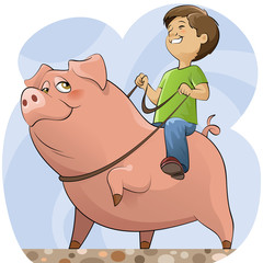 Pig and boy