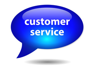 CUSTOMER SERVICE Speech Bubble Icon (web button contact call us)
