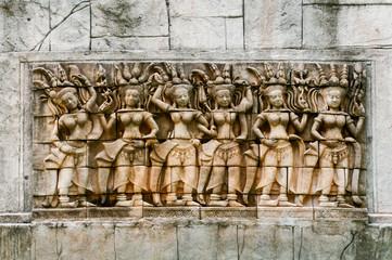 bangkok Nahaufnahme Tafel Figur Buddha grün weiß Nische