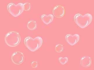 heart-shaped soap bubbles