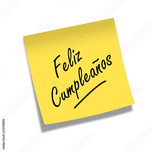 Post De Cumpleanos.Post It Feliz Cumpleanos Stock Photo And Royalty Free