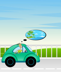 cartoon car and man on a background summer landscape