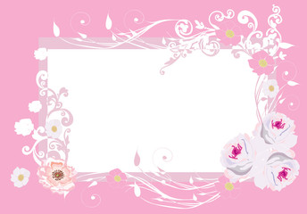 pink roses frame pattern