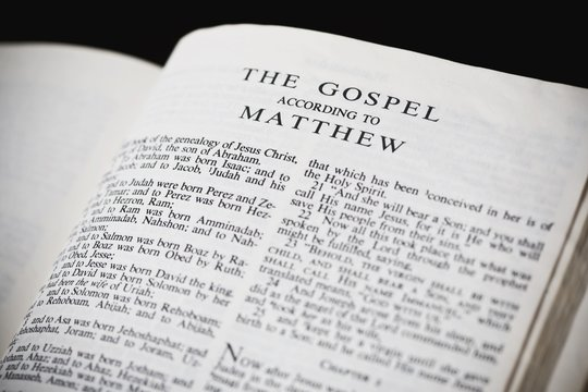 Bible Open To The Gospel According To Matthew