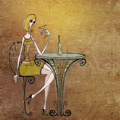 illustrated cute girl sitting and drinking