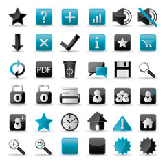 36 web icons set blueblack