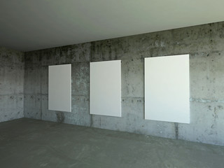 Three empty boards in room with grunge walls