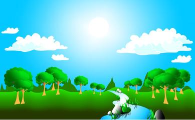 Sunny meadow landscape