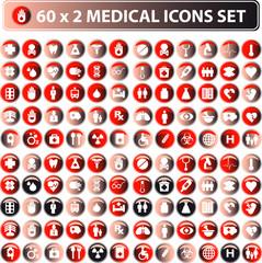 60x2 shiny Medical icons, button web set, eco color