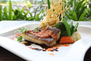 Grilled seabass fillet dish