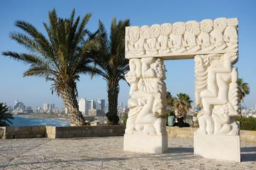 Sea coast and the view of Tel Aviv