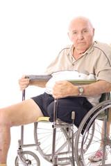 eldery man in wheelchair vertical