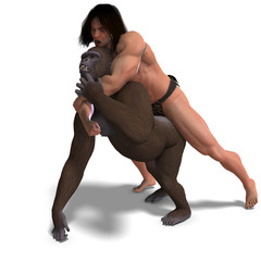 apeman and gorilla are fighting. 3D rendering with clipping path